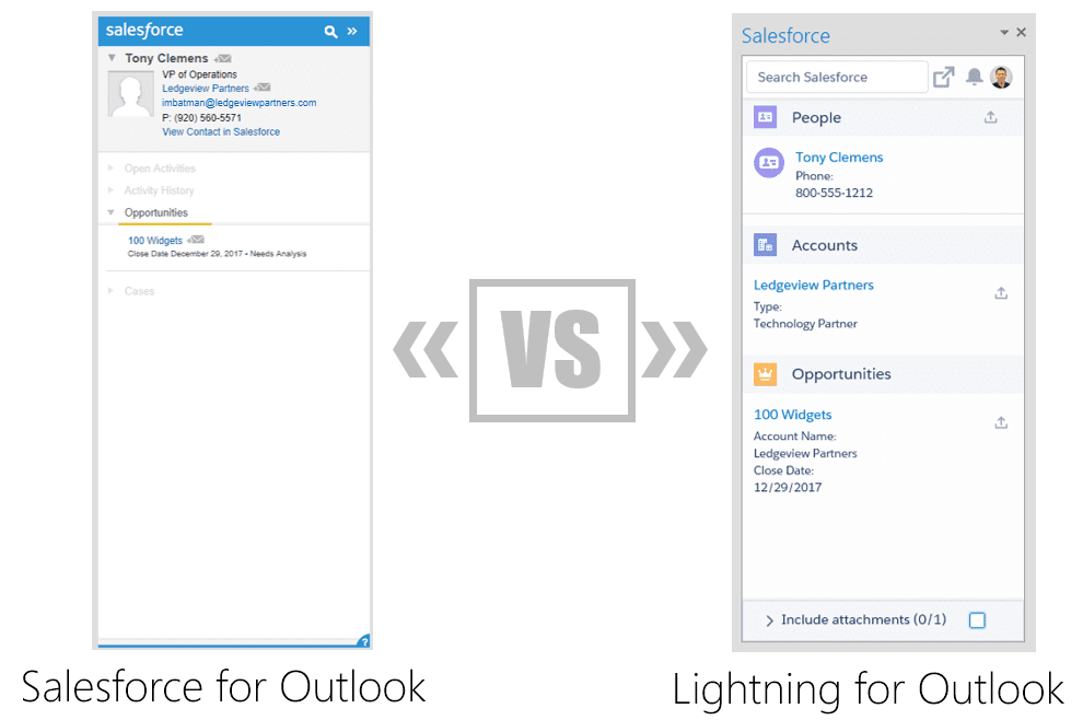 Salesforce for Outlook vs  Lightning for Outlook - Ledgeview Partners