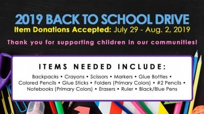 We Invite You to Donate to the Back to School Drive