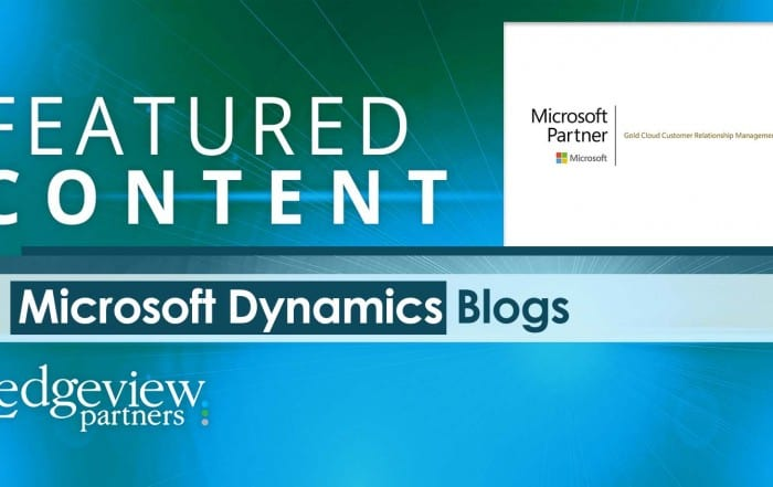 Microsoft Dynamics 365/CRM Featured Blogs