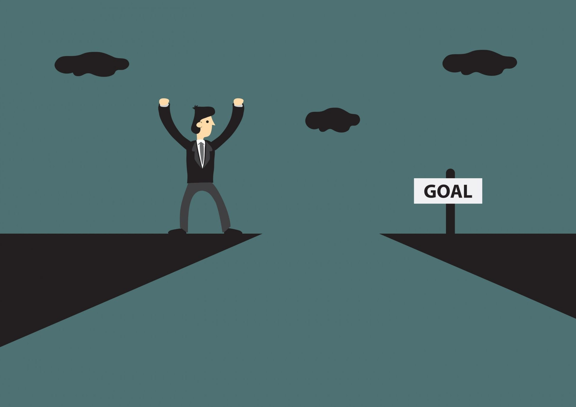Cartoon businessman standing on edge of mountain cliff, trying to reach his goal on the other side. Vector illustration for business metaphor on how to reach your goal green background.