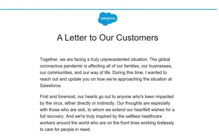 Salesforce CEO Marc Benioff Statement