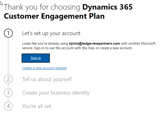 Steps in Creating a Dynamics 365 Trial org
